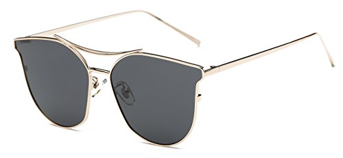Women Mirrored Polarized Metal Frame Cat Sunglasses by OLEWELL UV 400 Goggles Flat - Hut Black Friday Sunglasses