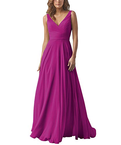 Yilis V-Neck Ruched Bodice A-line Chiffon Formal Prom Dress Floor Length Evening Ball Gown Fuchsia US8