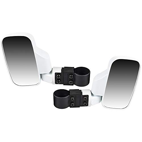 8TEN White Offroad Break-Away Side View Mirror Set for UTV Side x Side Utility Vehicle w/ 1.75' & 2' Roll Cage Bar High Impact Large Wide View