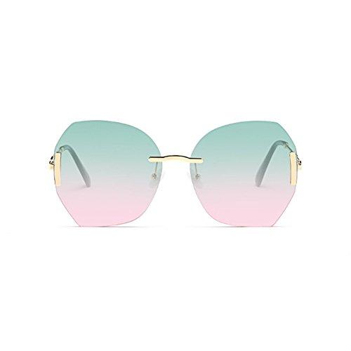 Sol De LIZHIQIANG De Color Mujer Marea Retro Cara Océano Gradiente Gafas Redonda A Sol D Gafas Transparente Color wwFgWq6xOB
