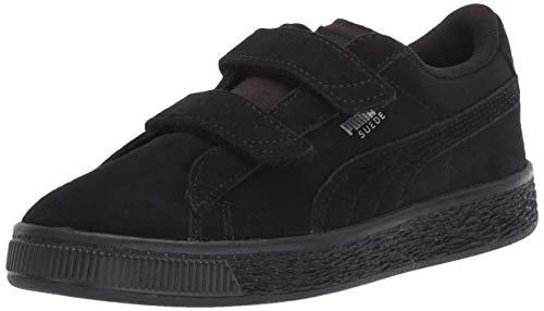 PUMA Unisex Suede 2 Straps Sneaker, Black-Silver, 12.5 M US Little ()