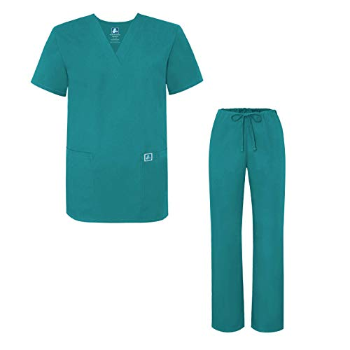 Adar Universal Medical Scrubs Set Medical Uniforms - Unisex Fit - 701 - TBL - S Teal Blue