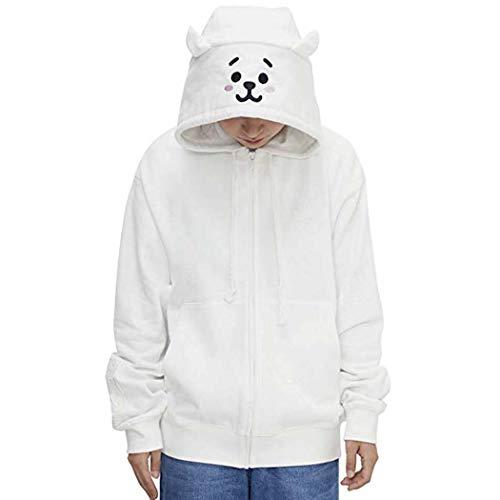 APHT Unisex BT21 Sweatshirt Cute Cute Cartoon Plush Hooded with Ears Pullover Tops Chimmy Cooky Koya Mang Rj Shooky Tata Kpop Bangtang Boys Outdoor Hoody Outfit