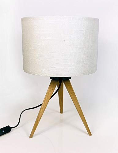 Modernluci Table Lamps for Living Room, Wood White Table lamp for Bedroom, Tripod lamp with Fabric Shade
