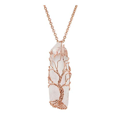 Jovivi Tree of Life Pendant Necklace, Wire Wrapped Raw Clear Crystal Quartz Healing Crystal Gemstone Necklace for Women