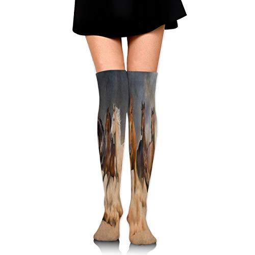 Captain Viking Women's Fashion High Socks Stockings Over The Knee Horse Herd Desert Sand Storm Hand Release