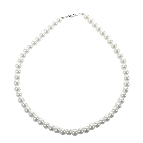 SODIAL(R) Ladies Lobster Clasp Round Faux Pearl Linked Necklace - And Color Co Tiffany Name