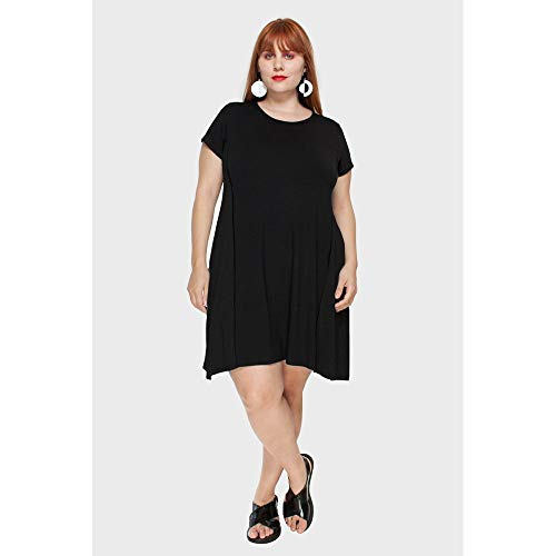Vestido Recortes Plus Size Preto-52/54