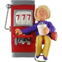 3238 Gambling: Slot Machine: Female Blonde Personalized Christmas Ornament