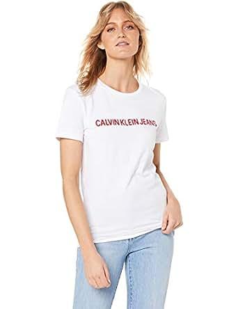 Calvin Klein Jeans Women's Chain Stitch Institutional Logo T Shirt, Bright White, M