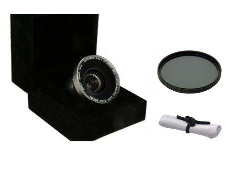 Canon VIXIA hf200 (高定義) 0.45 X広角マクロレンズ+ 55 mm円偏光フィルタ+ Nwv Directマイクロファイバークリーニングクロス B004SSND72