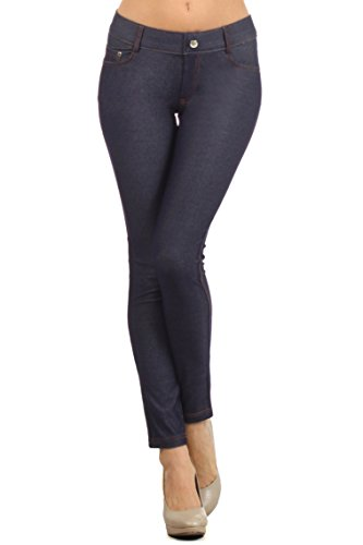 ICONOFLASH Women's Jeggings - Pull On Slimming Cotton Jean Like Leggings (Navy, - Jeans Rhinestone Pants