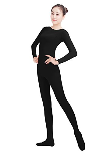 Ensnovo Womens Lycra Spandex One Piece Unitard Full Bodysuit Zentai Suit Costume Black M - Full Bodysuit Costume