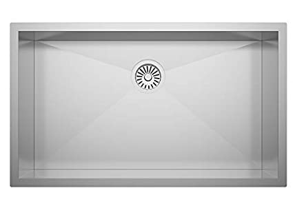 """ZUHNE 32X19 ADA Compliant Shallow 6"""" Basin Zero Radius Single Bowl Under  Mount Stainless Steel Bar, Prep, Kitchen, Laundry and Utility Sink, Fits  36\"""