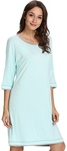 GYS Women's 3/4 Sleeve Scoop Neck Nightgown, Small, Aqua Green ()