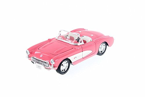 - Welly 1957 Chevy Corvette Convertible, Pink w/ White 29393WPK - 1/24 Scale Diecast Model Toy Car
