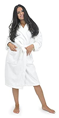 Women's Terry Hooded Bathrobe 100% Turkish Cotton Made in Turkey