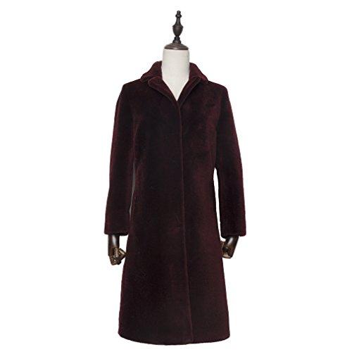 Fur Story Women's Long Real Lamb Fur Coat Thick Warm Coat Full Sleeve Stand up Collar (US 12, Wine)