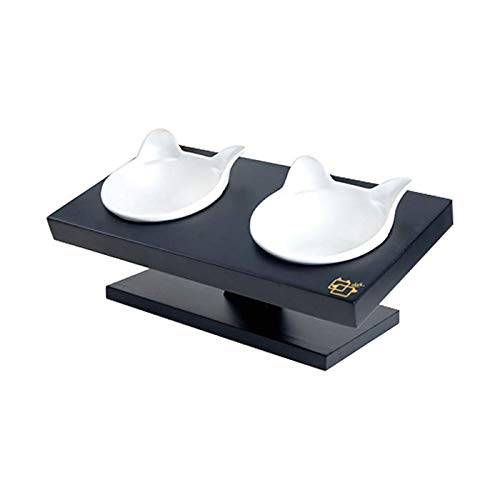 ViviPet 15° Tilted Platform Pet Feeder_ Solid Pine Stand with Ceramic Bowls for Dog and cat Under 20 lb.