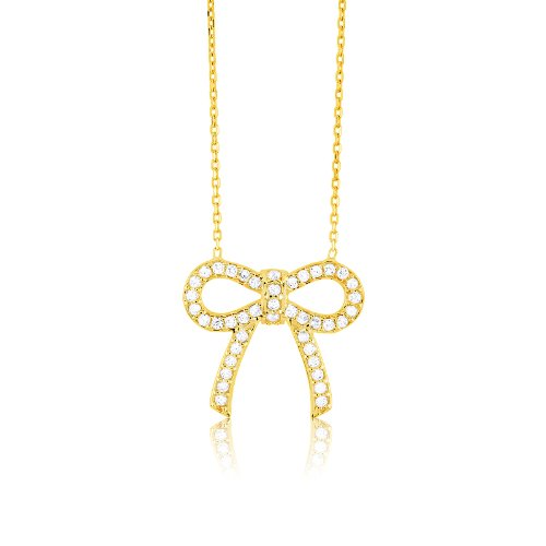 2 Extension Gold Tone CZ Bow Necklace Sterling Silver 16