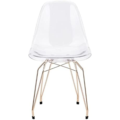 Zuo Modern Set Of 2 Shadow Chairs Clear Gold