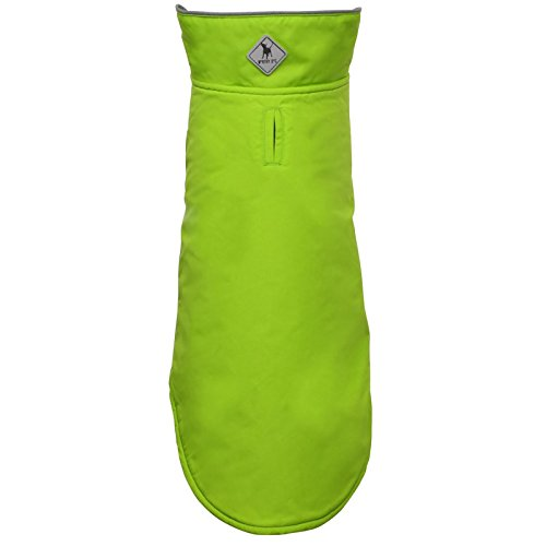 - The Worthy Dog Apex Dog Jacket Wind and Water Resistant All-Weather Fleece Lined Nylon Winter Coat for Small Medium Large Dogs with Reflective Trim, Green, 16