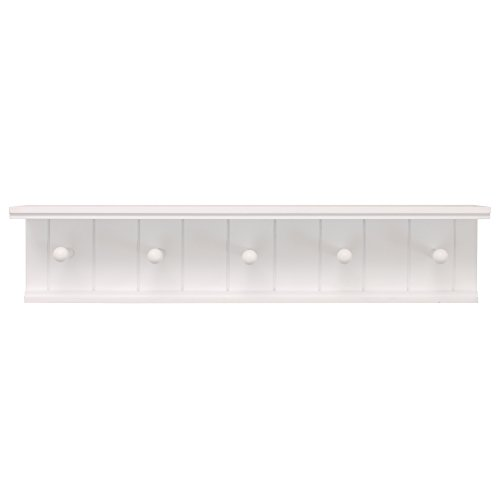 kieragrace Kian Wall Shelf with 5 Pegs, 24-Inch by 5-Inch, White