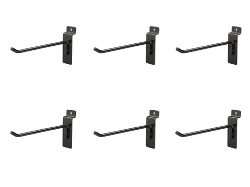 Jifram Easy Living 01100690 Easy Wall Bag of Six 6-Inch 45 Degree Black Metal Slatwall Hooks with Stabalizer and Double Hook Clips