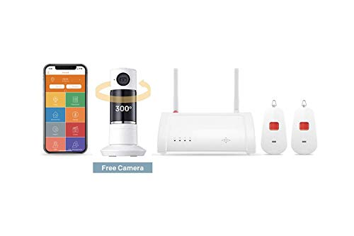 Home8 Wireless Medical Alert System (4-Piece Kit), 24/7 Professional Emergency Monitoring, No Contracts,Smartphone Notifications to Family Members,1-TwoWayAudio Cam, 2-Panic Button, 1-Hub, Alexa