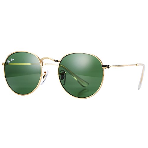Pro Acme PA3447 Classic Crystal Glass Les Retro Round Metal Sunglasses,50mm (Crystal G15 Green - 50mm Round