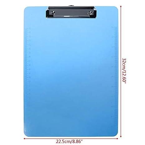 KINTRADE Kunststoff Zwischenablage Pad Clip Ordner Dokument Transparente Halter Platte F/ür Papier A4 Blau