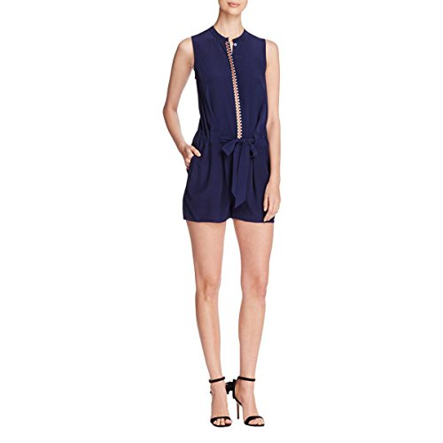 Tory Burch Womens Marguerite Silk Embroidered Romper Navy L
