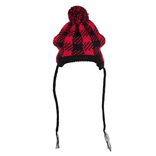 The Worthy Dog Buffalo Plaid Hat for Your Pet Dog or Cat, Medium, Black/Red by The Worthy Dog
