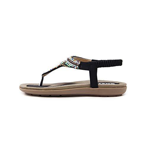 Playa Mujer Negro Sandalias Zapatillas Applique Bohemia Zapatos Rhinestone Pisos Verano w0fUqdxw