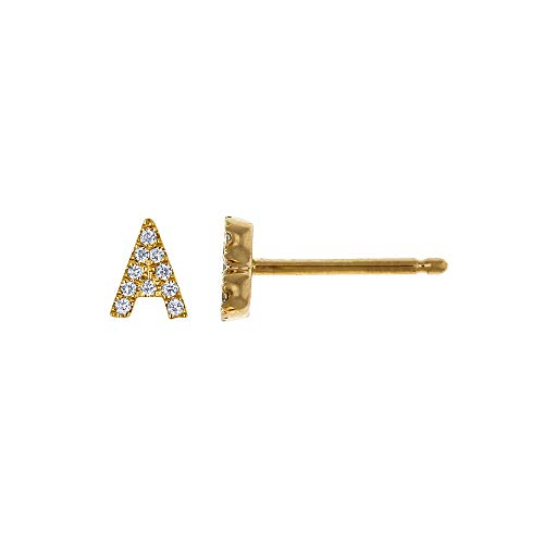 - 14K Yellow Gold Natural Diamond 'A' Initial Letter Personalized Alphabet Micro-set Single Earring Stud