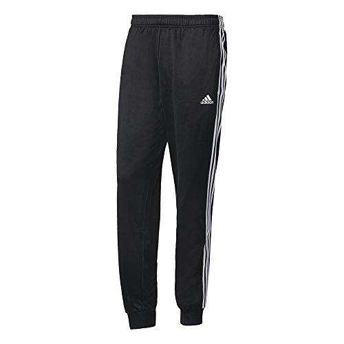 adidas Men's Athletics Essential Tricot 3 Stripe Tapered Pants, Black/White, Large (Adidas Slim Pants)