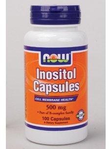 NOW- Inositol Capsules 500 mg 100 caps - Inositol Caps 100 Capsules