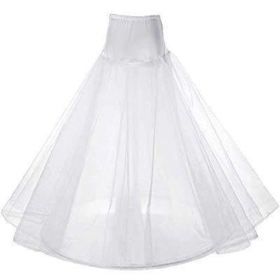 warmdecor Women's A-line Petticoat Bridal Full Length 3-Layers Gown Slips Crinoline Underskirt for Wedding Evening Party Dresses White