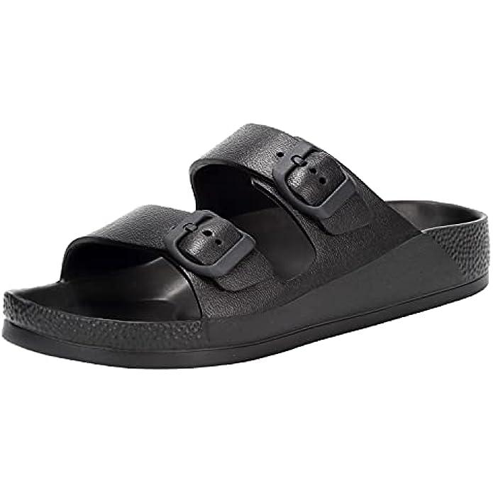 Women's Flat Sandals Comfort Footbed Adjustable Slides Double Buckle Slip on EVA Slippers