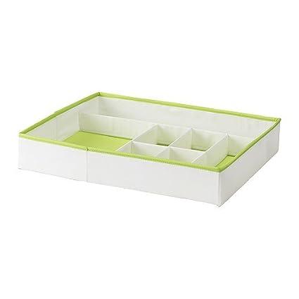 IKEA kusiner - Caja con compartimentos, blanco / verde - 51x42x9 cm