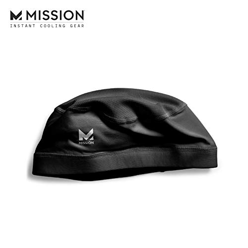 Mission Cooling Skull Cap- Hat, Helmet Liner, Running Beanie, Evaporative Cool Technology, Cools Instantly when Wet, UPF 50 Protection, for Under Helmets, Hardhats, Running, Football- BLACK