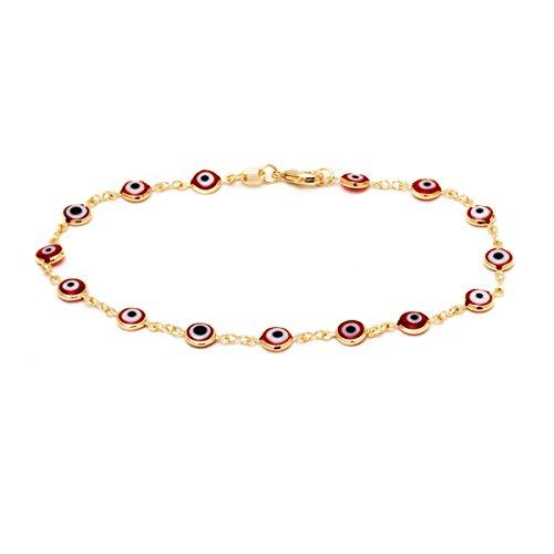 - Barzel 18k Gold Plated Evil Eye Anklet Bracelet (Red)