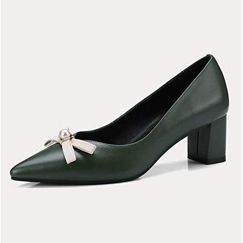 Leather Green Beige Chunky Heels ZHZNVX Women's Spring Comfort Shoes Nappa Black Black Heel qUfPU1B