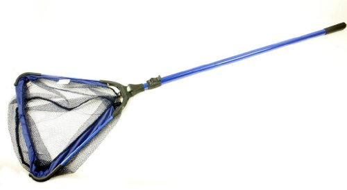 Telescopic Pole Skimmer Koi Pond or Water Garden Catching Net with 6mm Course mesh, w/Fold-Over Collapsible Head