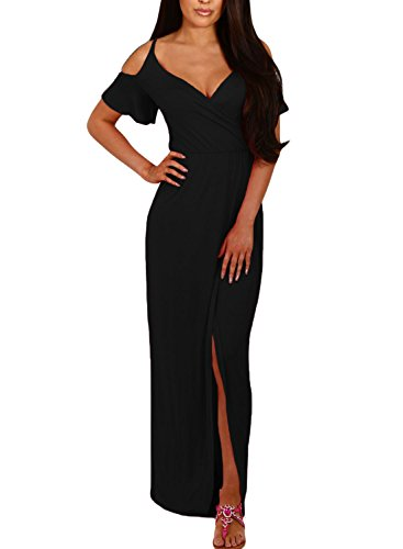 long black fitted maxi dress - 5