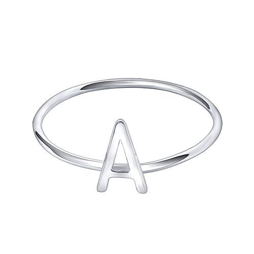 (AoedeJ 925 Sterling Silver Stackable Initial Letter Rings Capital Letter Ring Charm Initial Band for Women (A, 7))