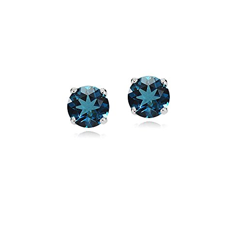 White Topaz Gemstone Earrings (Bria Lou 14k White Gold London Blue Topaz 4mm Round Small Gemstone Stud Earrings)