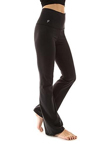 PattyBoutik Women's Shaping Series Bootcut Yoga Pants (Solid Black M)