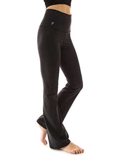 PattyBoutik Women's Shaping Series Bootcut Yoga Pants (Solid Black M)
