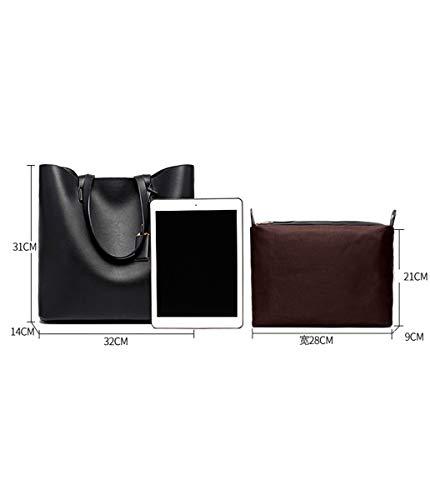 de Moda de de Bolso SHENHAI Americano de Femenino Bolso Hombro oscuro Gris Europeo Bolso Negro Damas Bolso y Grande Z0gxgq6
